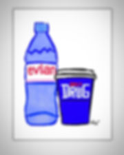 evian bottle coffee cup daily drug contemporary art painting pop art by teddy m