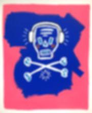 teddy m contemporary art skull painting headphones blue pink
