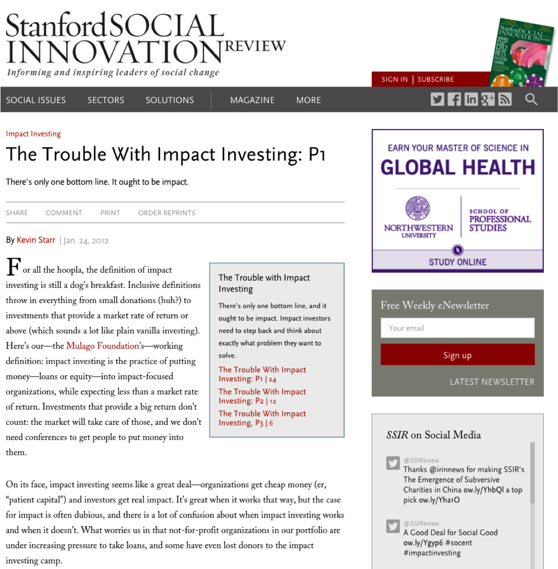 The Problems With Impact Investing... Revisited