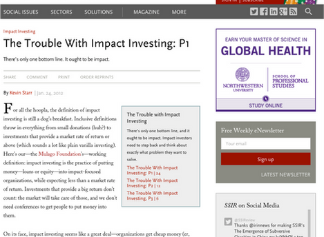 The Problems with Impact Investing... Revisited.