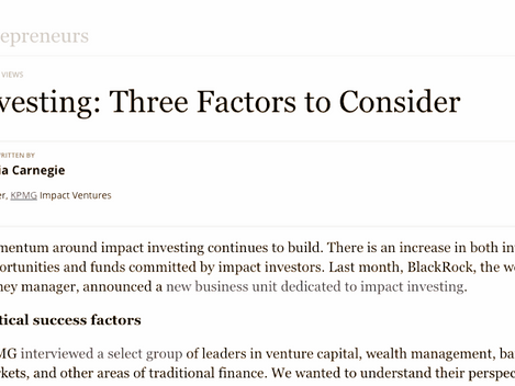 Three Factors to Consider in Impact Investing