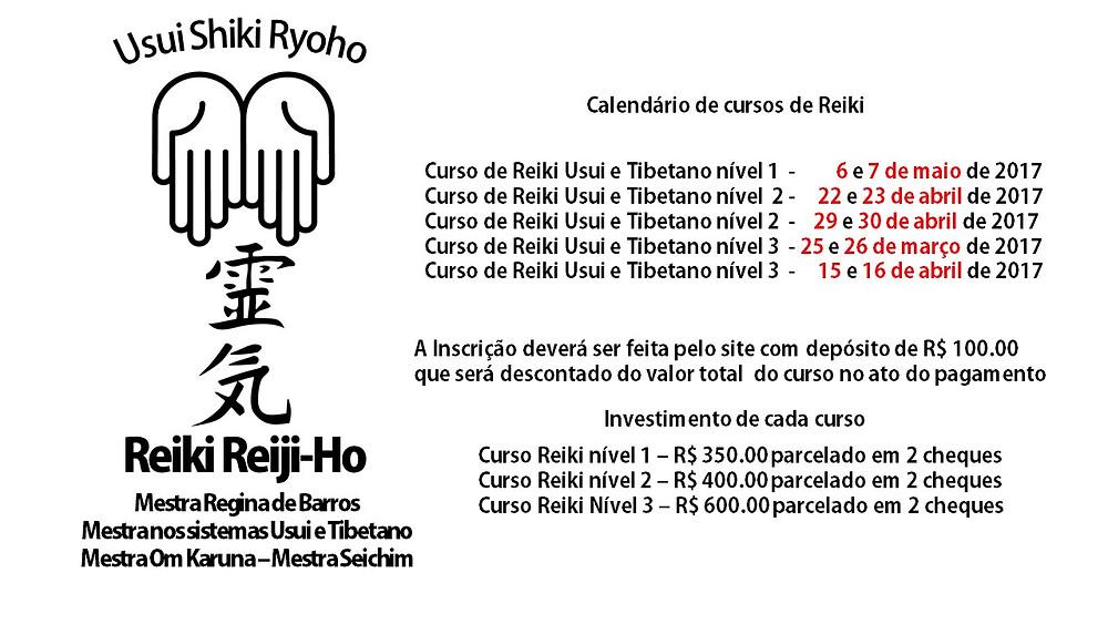 Datas disponíveis de cursos de Reiki