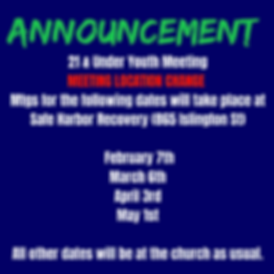 Youth Group Change of Mtg Location First