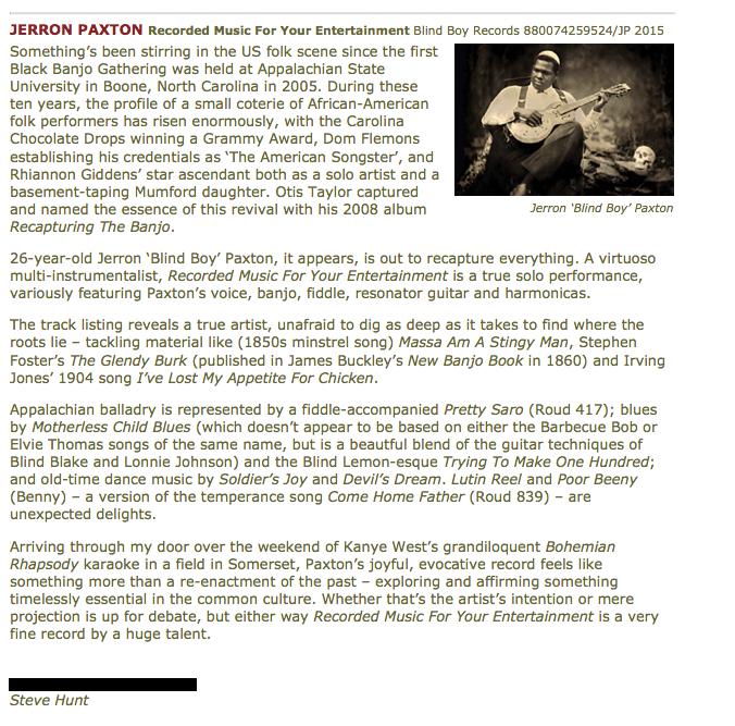 Review of Jerron Paxton album