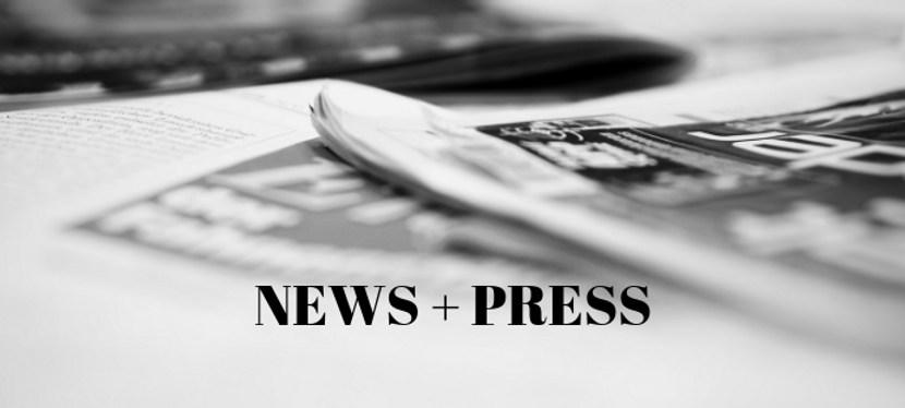 """Black and white image of nwspapers in background with the text of """"News + Press"""" in bold in the forefront."""