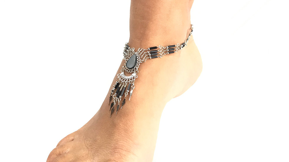 Black Onyx Stone with Black Accent Anklet