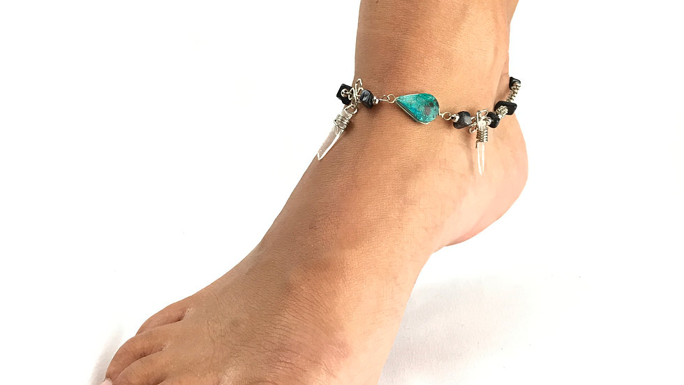 Turquoise and Crystal with Black Anklet