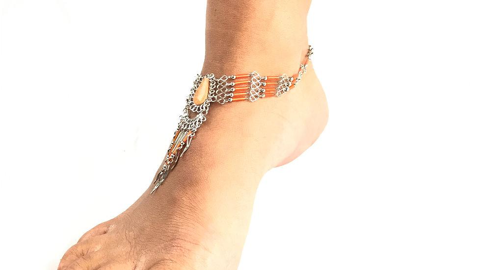 Jasper Stone with Orange Accent Anklet