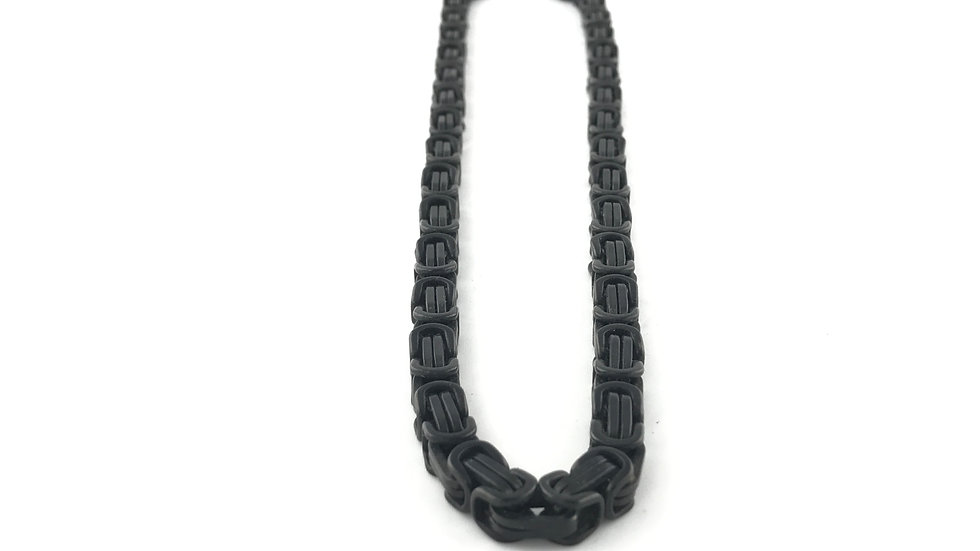 Titanium Black Square Byzantine Necklace
