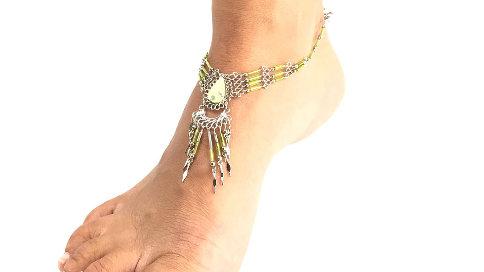 Serpentine (Mossy Agate) with Green Accent Anklet