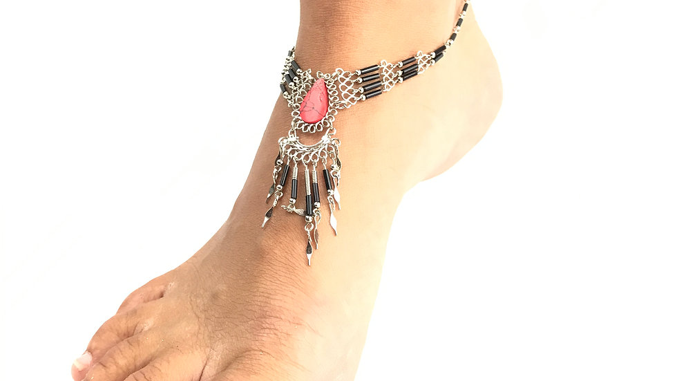 Red Coral Stone with Black Accent Anklet