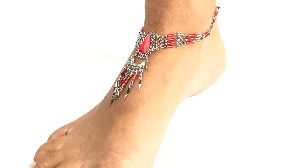 Red Coral Stone with Red Accent Anklet