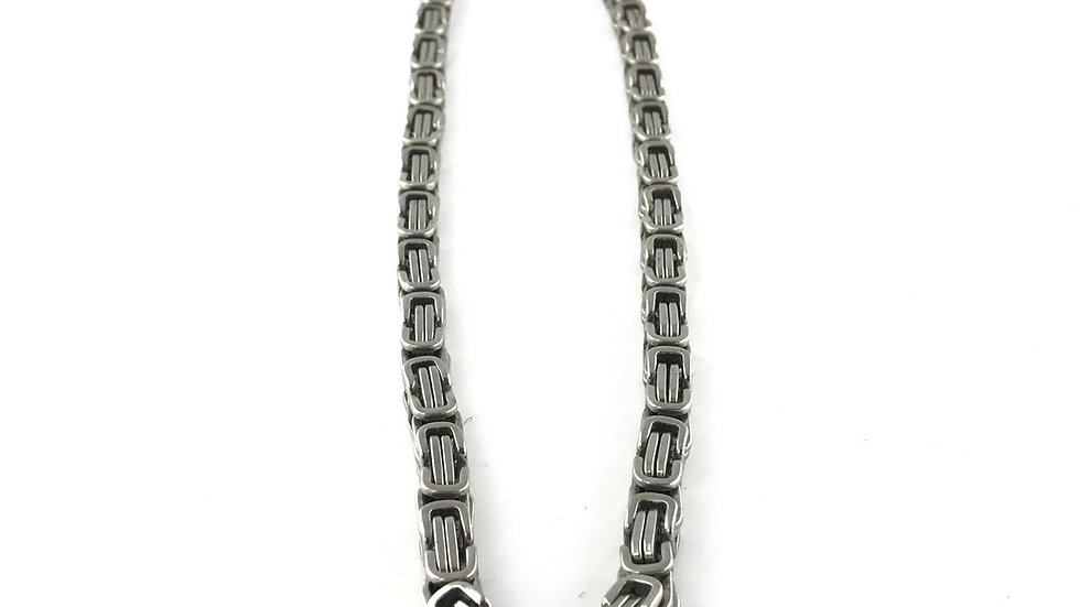 Stainless Steel Square Byzantine Necklace