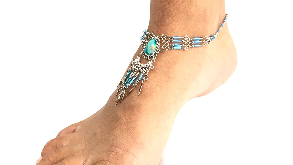 Turquoise Stone with Turquoise Accent Anklet