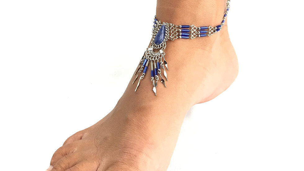 Lapis Stone with Blue Accent Anklet
