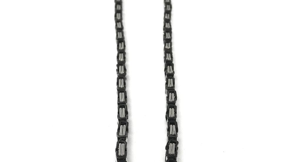 Black/Silver Square Byzantine Necklace