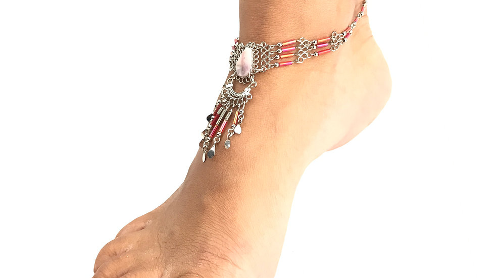 Pink Stone with Pink Accent Anklet