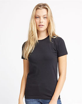 Blonde Woman in Black T-Shirt