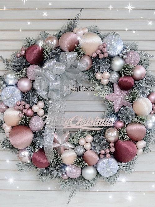 Рождественский венок «Розовый пунш»