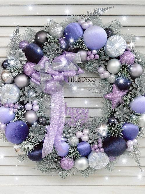 Рождественский венок «Лиловый иней»