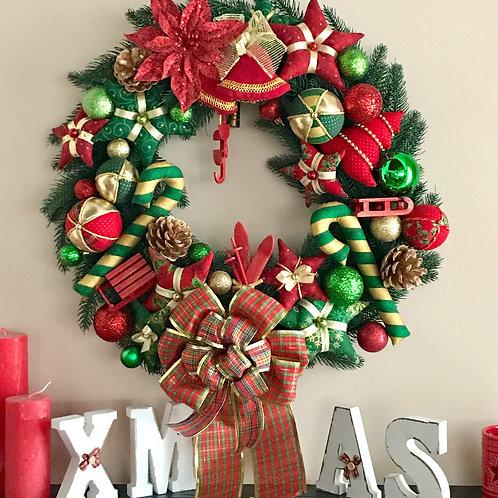 Рождественский венок красно-зеленый