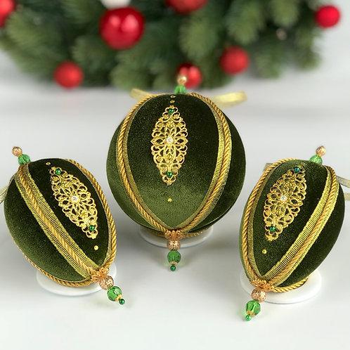 Набор елочных игрушек «Королевский бал» (зелёный)