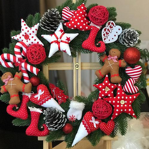 Рождественский венок красно-белый
