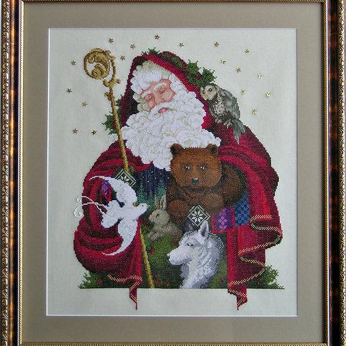 """Вышитая картина """"Лесной Санта"""""""