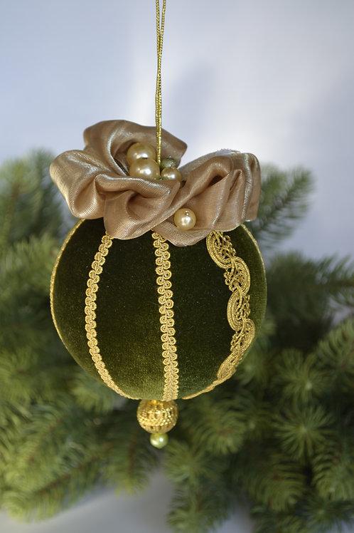 Подарочный шар травяной зеленый/золото