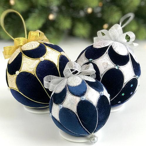 Подарочный набор ёлочных шаров «Версаль» синий