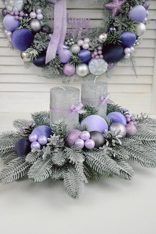 Рождественская  композиция  «Лиловый иней» на 2 свечи