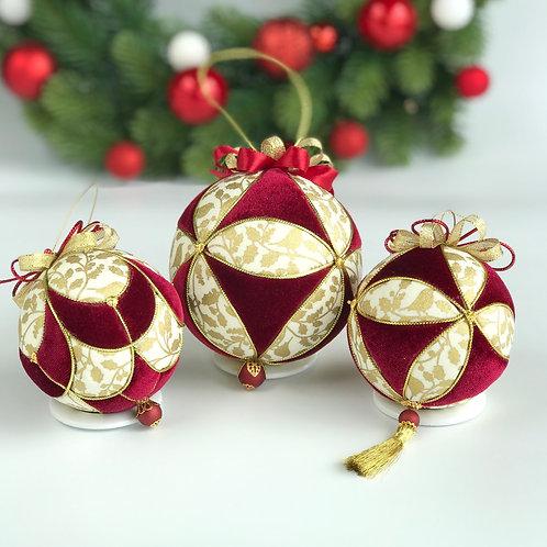 Набор елочных шаров «Золотой остролист»