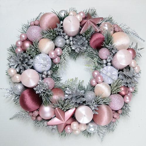 Рождественский адвент венок «Розовый пунш»