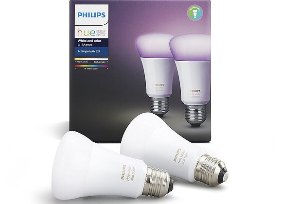 Philips Hue White and Colour Ambiance Twin Pack (E27)