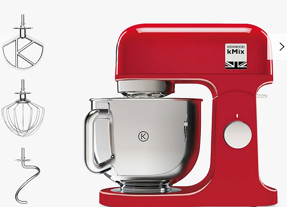 Kenwood KMX750 kMix Stand Mixer with 1000W Power and 6 Speed Settings in Red