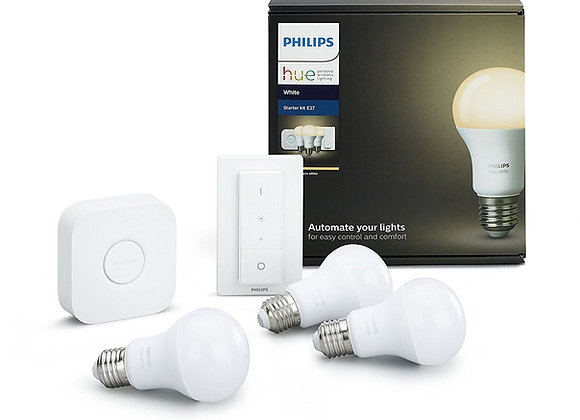 Philips Hue White - Kit of 3 LED bulbs E27 with bridge and switch, 9.5 W