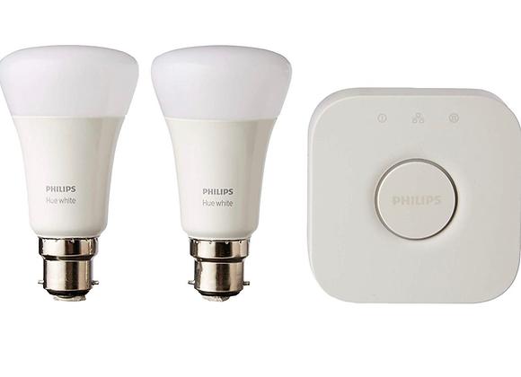 Philips Hue White Starter Kit: Smart Bulb Twin Pack LED [B22 Bayonet Cap] Includ