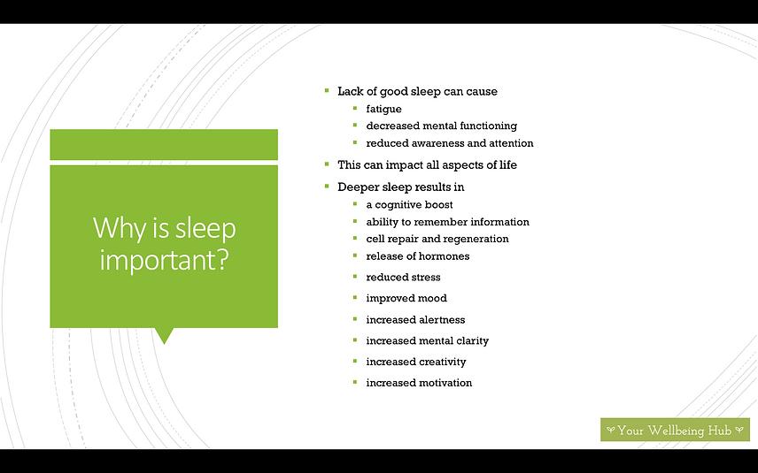 Your Wellbeing Hub sleep important