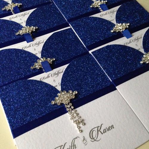 glitter glamour wallet invitation royal blue - Royal Blue And Silver Wedding Invitations