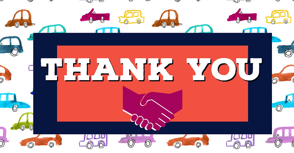 thank you with handshake cartoon underneath and collage of cartoon cars in the background