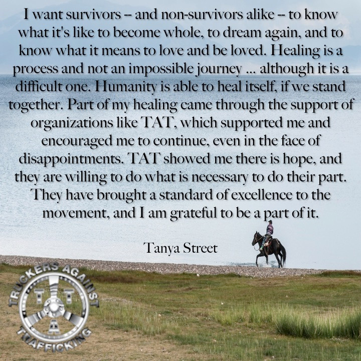 horse on an open field with a trafficking survivor quote in the foreground