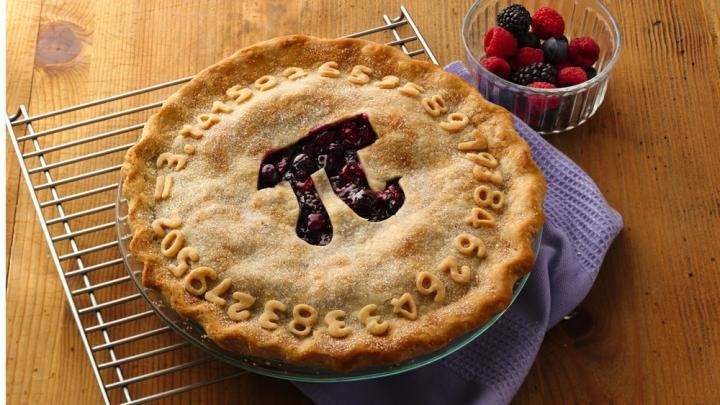 berry pie with pi symbol cut out