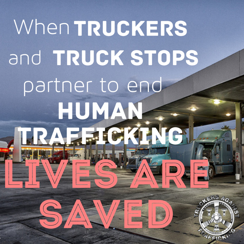 Truck stop filled with semis at the pump with text about Truckers Against Trafficking in the foreground