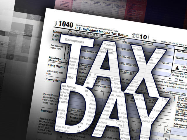 Tax day photo with 1040 form