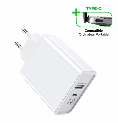 Chargeur Secteur Wave 2,4A 5V-45W 1 USB-A + 1 USB-C