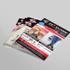 Production de flyers A5 de 130g couché brillant impression quadri 4 couleurs recto-verso