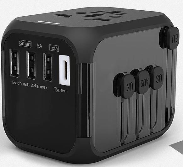 Chargeur secteur avec adaptateur de voyage avec sortie USB et USB-C