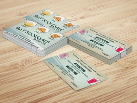 Création de cartes de visite au format 85 x 88 mm 350g couché brillant en quadri recto