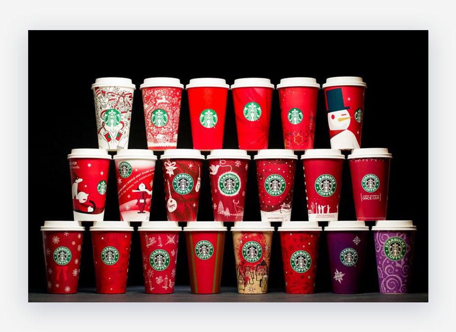 Starbucks holiday cups offline branding