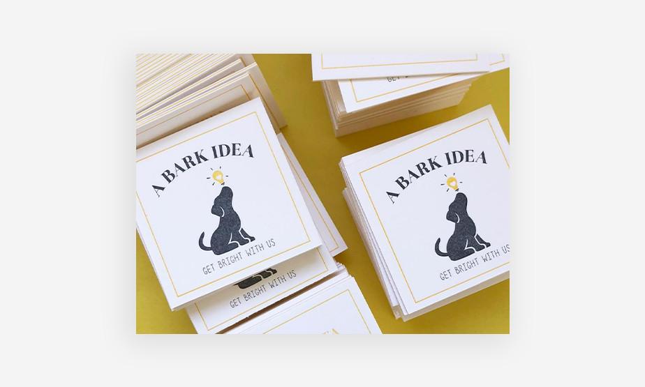 a bark idea business card